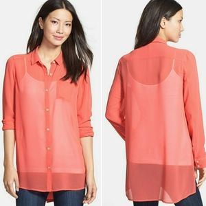 Halogen Coral Sheer Hi-Lo Button Down Tunic Blouse